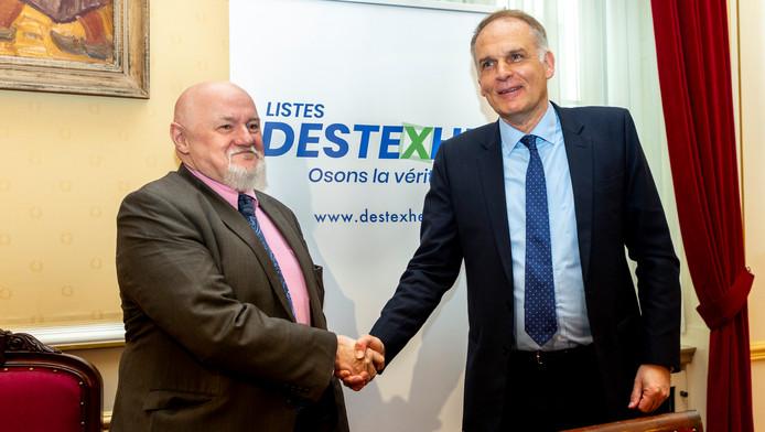 Claude Moniquet lors d'une conférence de presse avec Alain Destexhe à Bruxelles, le 12 mars 2019.