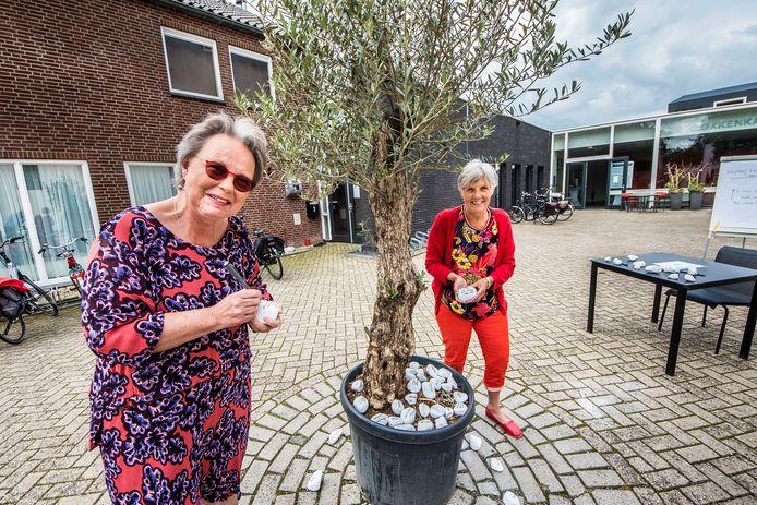 Lea Meijnen en Rinny Schuite leggen een steen bij de olijfboom