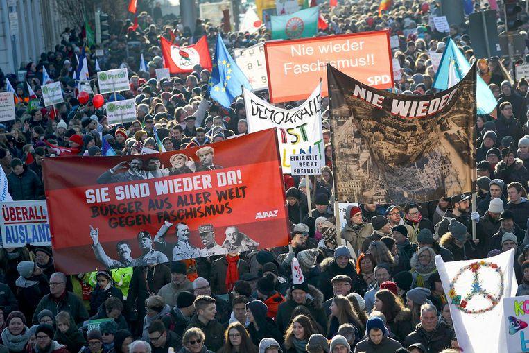 Betogers op de been in Koblenz. Beeld REUTERS