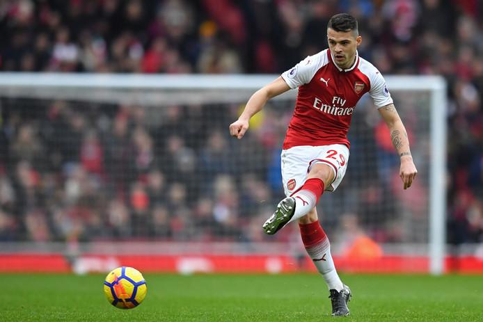 Zwitserse Arsenal-speler Granit Xhaka in actie afgelopen maart. (FILES)