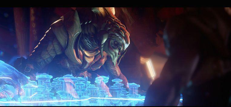 Alien-planoloog toont nieuwe maquette. Beeld 343 Industries