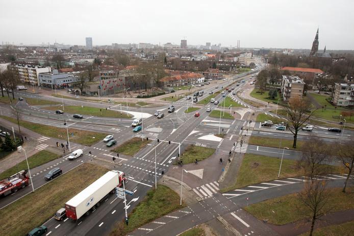 Eindhoven - Kruispunt Montgomerylaan en OL Vrouwestraat/Pastoriestraat (boven) in Eindhoven.