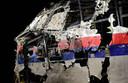 De gereconstrueerde romp van Malaysian Airways-vlucht MH17
