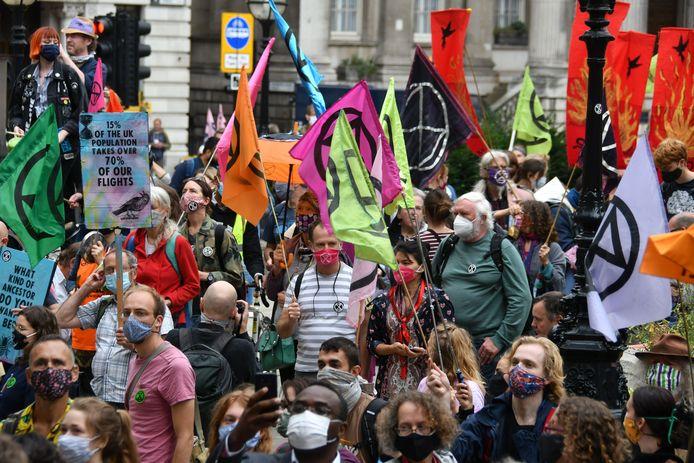 Een protestmars van Extinction Rebellion in Londen.
