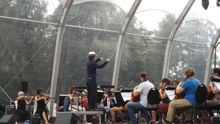 Dirigent Robert Groslot en Il Novecento hielden gisteren al een repetitie.