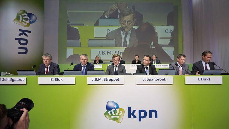 De Raad van Bestuur van KPN tijdens een aandeelhoudersvergadering op 2 oktober. Beeld reuters