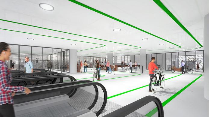 Impressie ondergrondse fietsenstalling Koningin Julianaplein