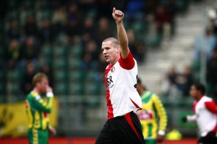 Feyenoorder Ron Vlaar juicht na de 0-1 tegen ADO Den Haag. ANP Beeld