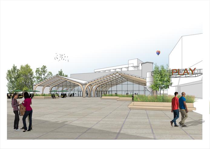 Vooraanzicht van de nieuw te bouwen Kaaihal op de Tramkade met de op de achtergrond de silo's.