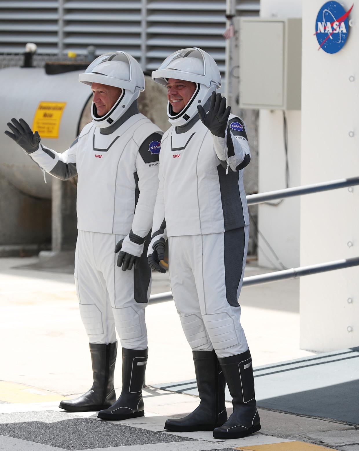Astronauten Hurley en Behnken. Beeld Getty Images