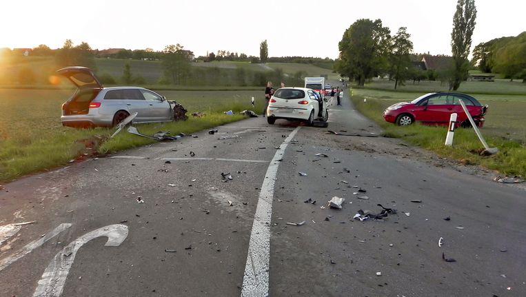 De brokstukken na het ongeval op 19 mei 2014.