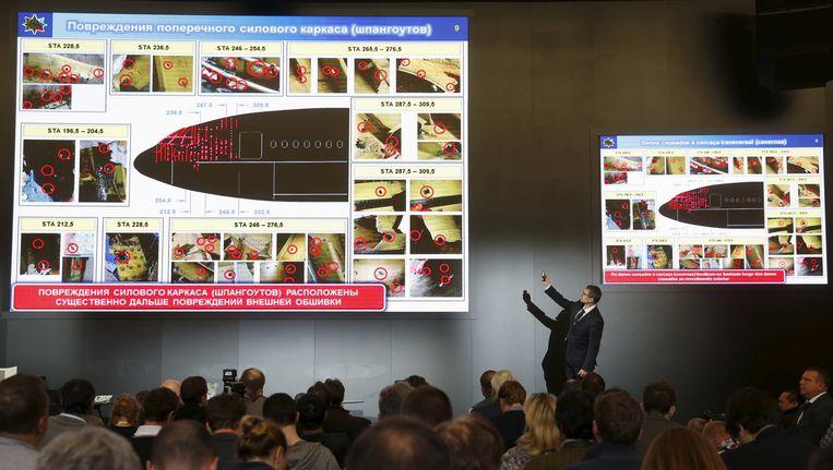 De persconferentie door BUK-raketfabrikant Almaz-Antey in Moskou over de crash met vlucht MH17. Beeld reuters