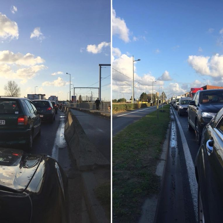 Deze foto van de verkeerschaos plaatste burgemeester Johan Vande Lanotte op zijn Facebookpagina.