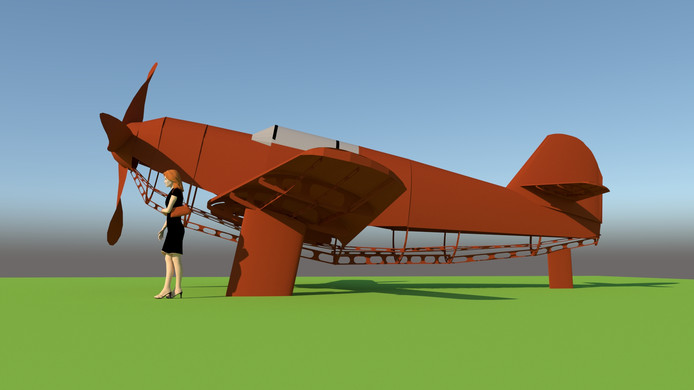 Het Schijnvliegtuig, dit kunstwerk komt bij de bunker tegenover Kamp de Kiek aan de Oude Tilburgsebaan in Riel.