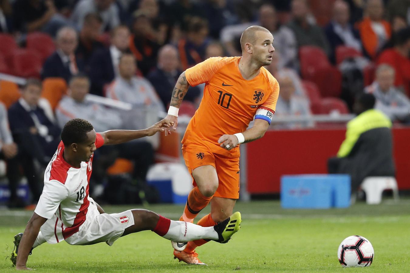 Wesley Sneijder tijdens zijn laatste interland.