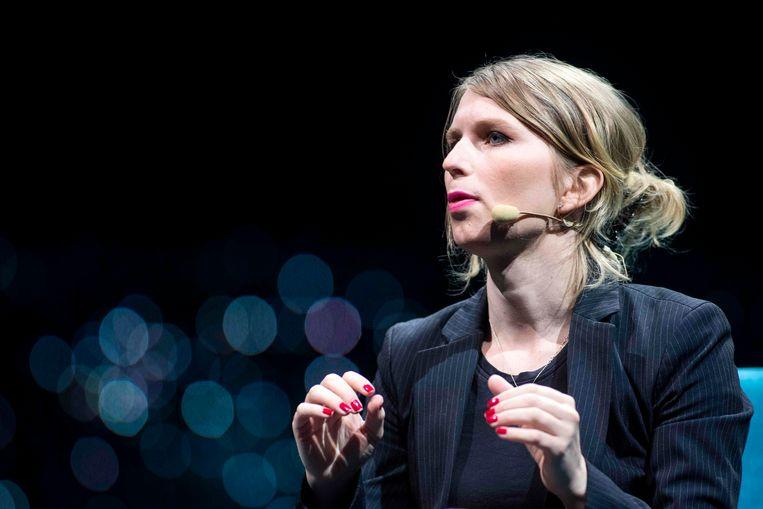 Chelsea Manning op een conferentie in mei 2018.  Beeld AFP