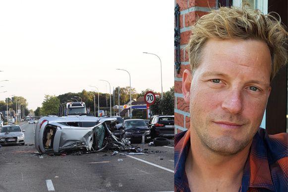 Kenny Claes (40) was gisteren aanwezig op het kruispunt aan de Meerstraat en de Koolmijnlaan toen de Dodge eraan kwam.