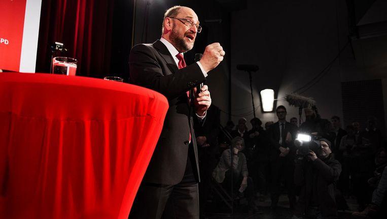 Martin Schulz, kanselierkandidaat voor de SPD, woensdag in de Selma-Lagerlöf-school in Ahrensdorf. Beeld Daniel Rosenthal/VK