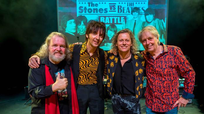Syb van de Ploeg in de rol van Mick Jagger, meestergitarist Harry Sacksioni, voormalig Kayak-zanger Edward Reekers en overgevlogen uit Londen Manny Angeletti (alias Paul McCartney.)
