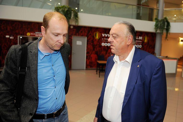Olivier Somers mede-hoofdaandeelhouder van KV Mechelen, en Johan Timmermans, ex-voorzitter van de club, voor de inleidende zitting.
