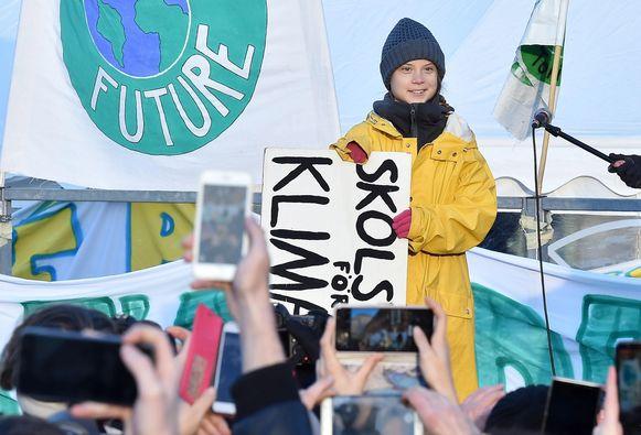 Greta Thunberg nam gisteren deel aan een klimaatactie in Turijn.
