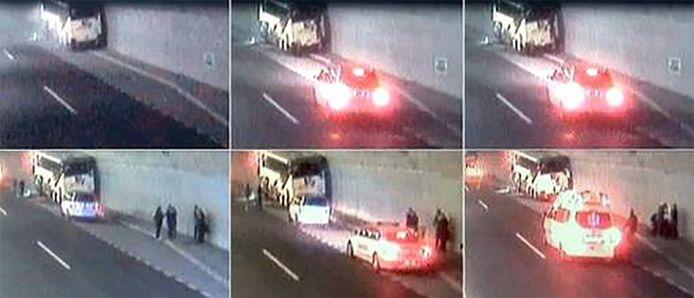 Bewakingsbeelden tonen hoe de hulpdiensten aankomen op de plaats van het ongeval.
