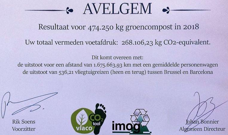 Het diploma voor Avelgem, uitgereikt door Vlaco en Imog.