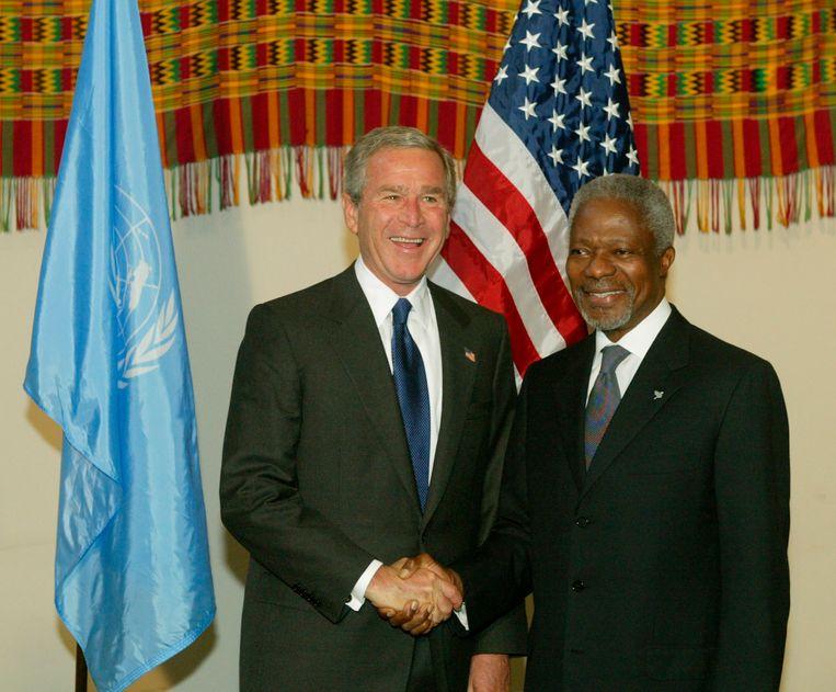 Met de Amerikaanse president George Bush, in 2004 in New York.