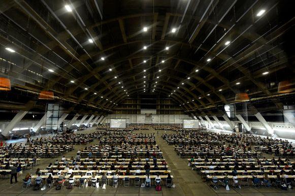 het toelatingsexamen voor kandidaat-artsen gisteren in Brussels Expo.