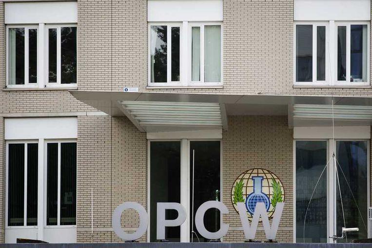 Het hoofdkantoor van de Organisatie voor het verbod op chemische wapens (OPCW) waar de inspecteurs bij aankomst in Nederland een bezoek aan zullen brengen. Beeld anp