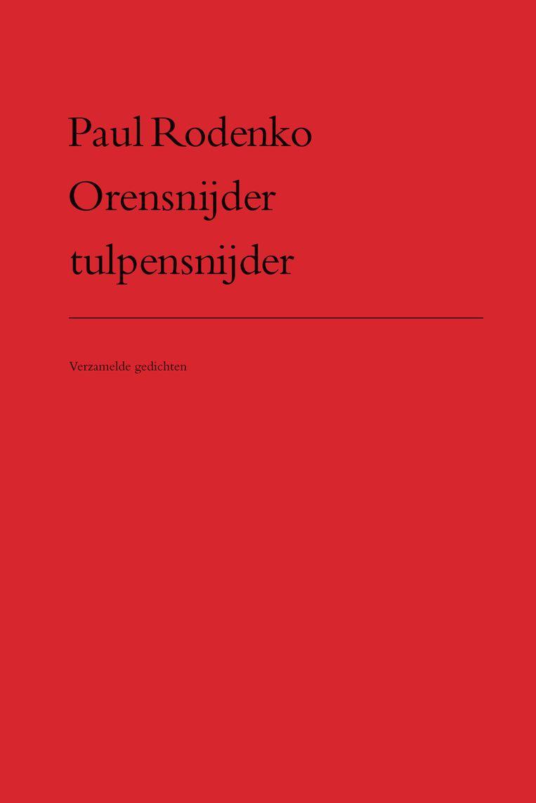 Leendert Stofbergens ontwerp voor Paul Rodenko's dichtbundel Orensnijder tulpensnijder, uit 1975 en ongewijzigd herhaald voor de herdruk in 2019. Beeld
