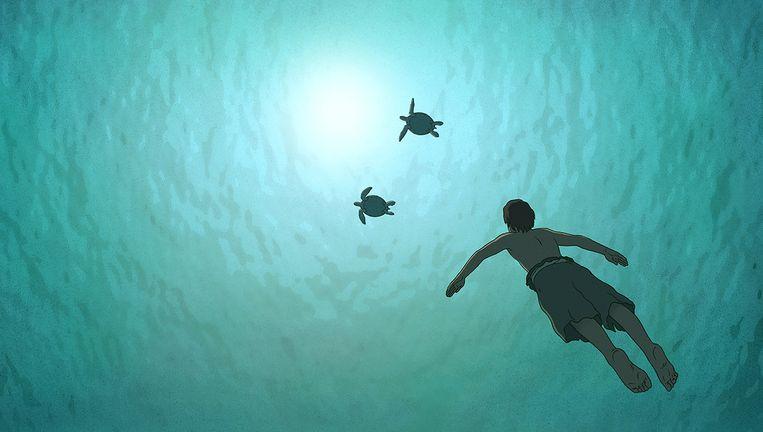 Wanneer de man op de rode schildpad stuit, neemt het verhaal een bijna mythische wending Beeld -