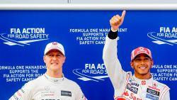 """Hamilton: """"Niet de ambitie om zeven wereldtitels van Schumacher te evenaren"""""""