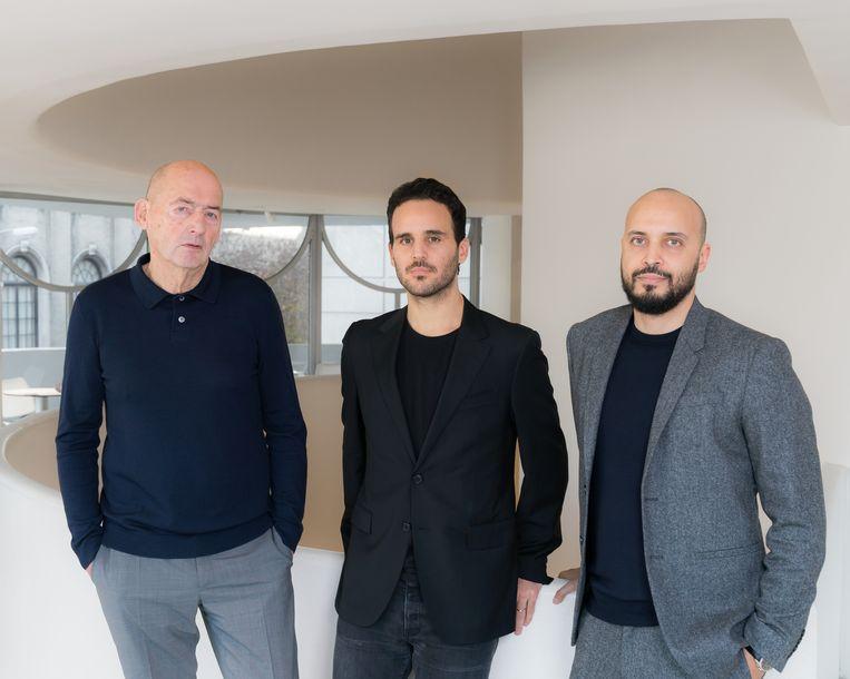 Rem Koolhaas (l) met Troy Conrad Therrien van het Guggenheim en Samir Bantal,  directeur van denktank Amo. Beeld