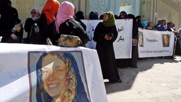 Activisten in Jemen demonstreerden in maart van dit jaar voor de vrijlating van Isabelle Prime.