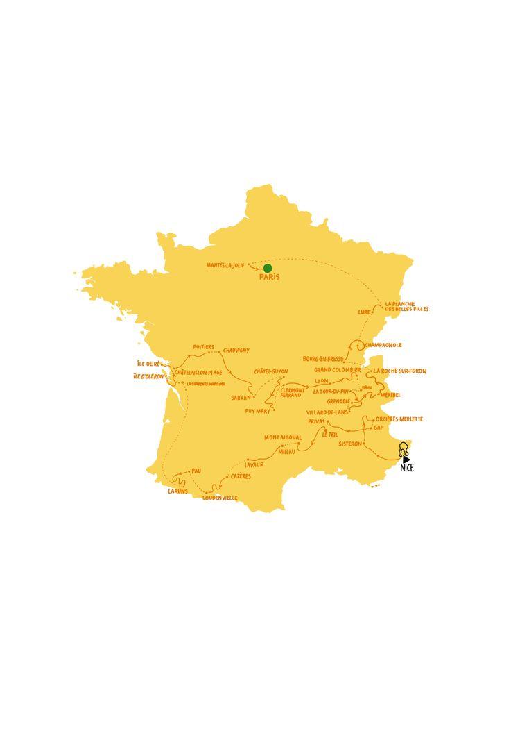 De ronde van de Tour de France van 2020. Beeld Rosa de Weerd