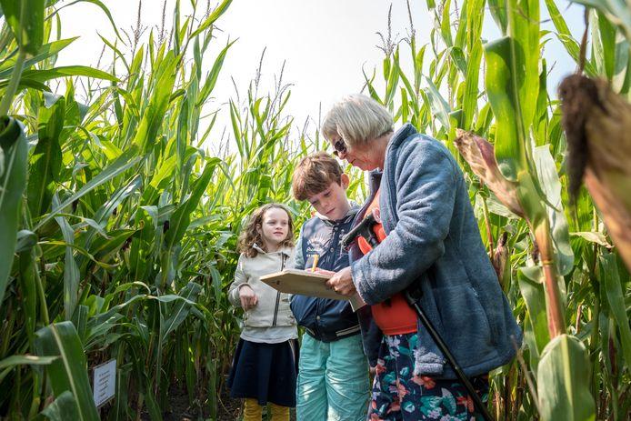 Oma Ankie van der Maas met haar kleinkinderen Joey van 10 en Esmee van 7 jaar