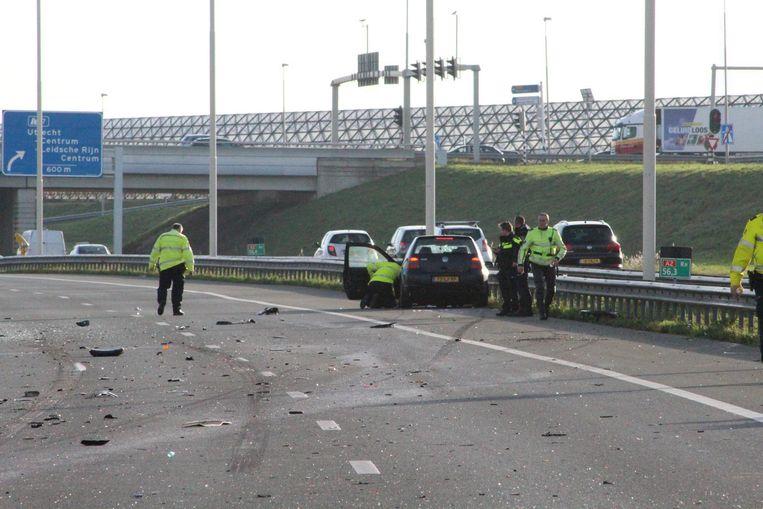 De auto van Neil van der L. na het ongeluk. Beeld anp