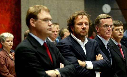 Ministers De Geus, Heinsbroek, Bonhoff en premier Balkenende, tijdens de beëdiging van de nieuwe Kamerleden in 2002