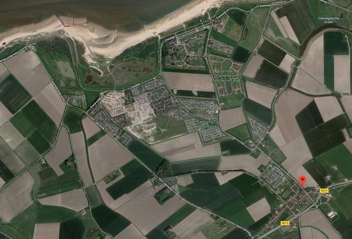 Nieuwvliet-Bad en Nieuwvliet, bij rode stip de Sint Bavodijk.