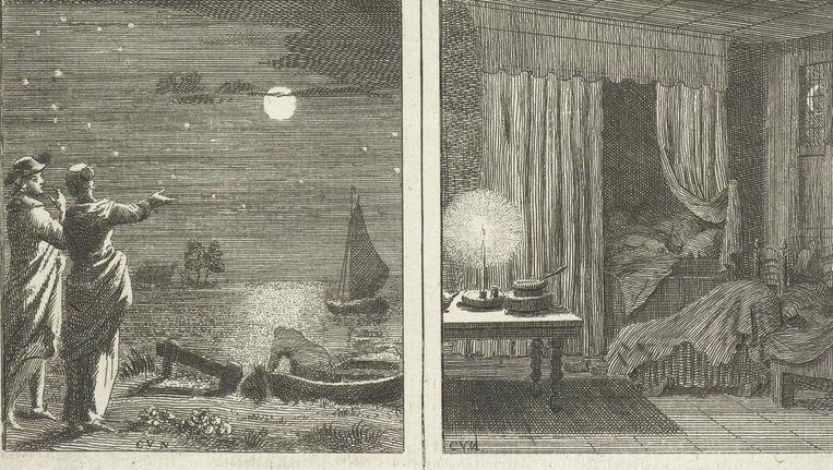 Detail uit De Hemel / Juwelen / Maan en sterren / Nachtrust van Cornelis van Noorde, in of voor 1767 Beeld via Rijksmuseum.nl