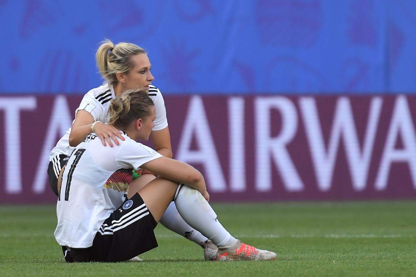 Teleurstelling bij Duitsland. De tweevoudig wereldkampioen ligt uit het toernooi.