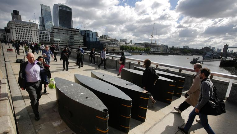 London Bridge, 7 juni, nu met obstakels. Beeld ap