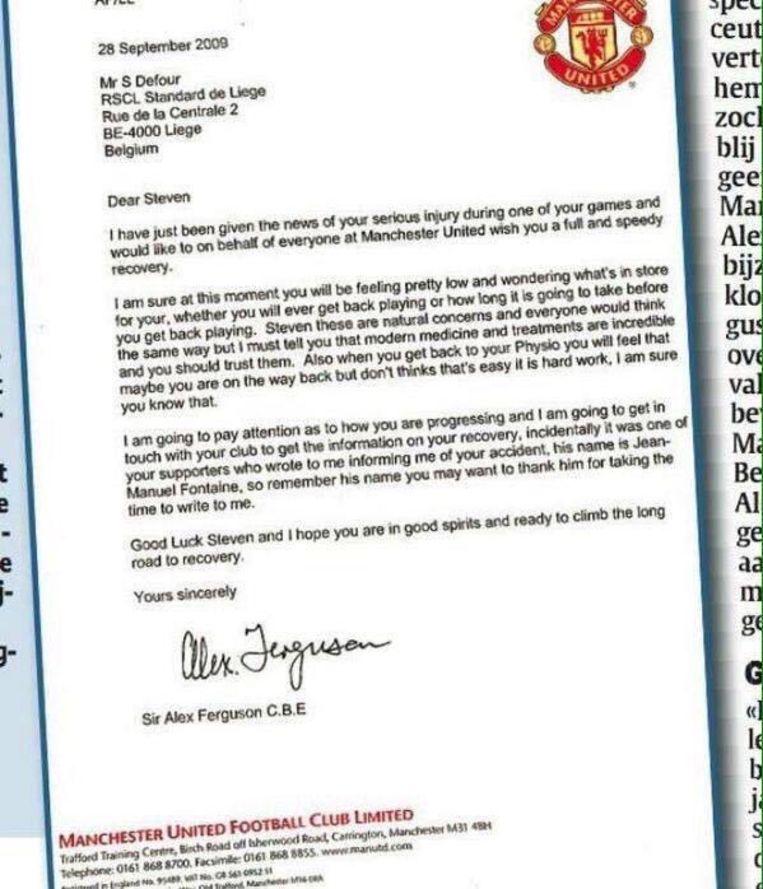 De brief van Alex Ferguson aan Steven Defour.