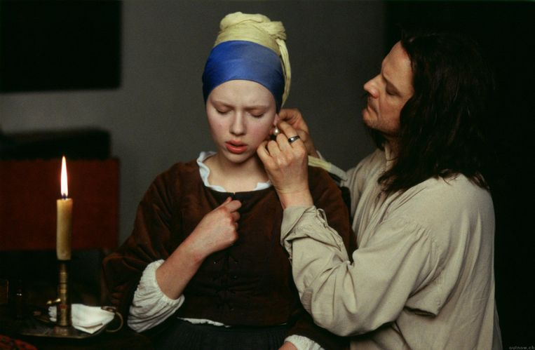Scarlett Johansson en Colin Firth in Girl with a Pearl Earring, 1999. Beeld