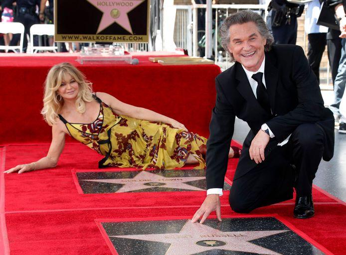 Goldie Hawn en Kurt Russell met hun sterren.
