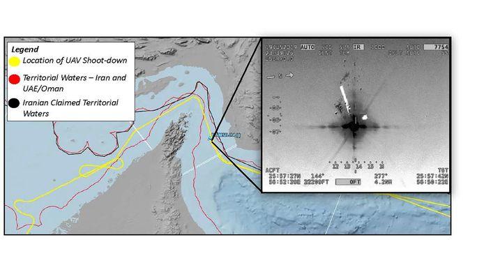 Volgens de Verenigde Staten bevond de drone (gele vlieglijn) zich in internationale wateren (tussen de twee rode lijnen).