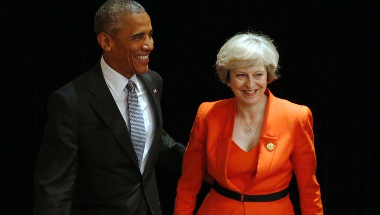 De Amerikaanse president Barack Obama (links) en de Britse premier Theresa May.
