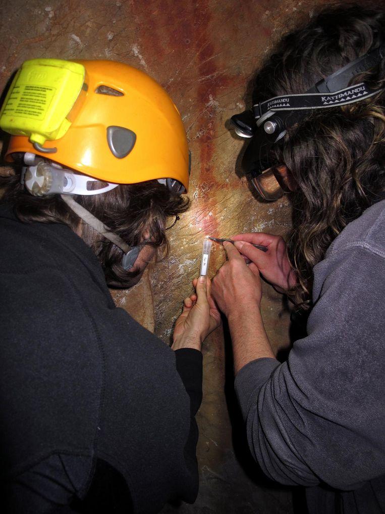 Wetenschappers schrapen wat kalk van een Neanderthaler-tekening in La Pasiego, voor dateringsonderzoek. Beeld Science