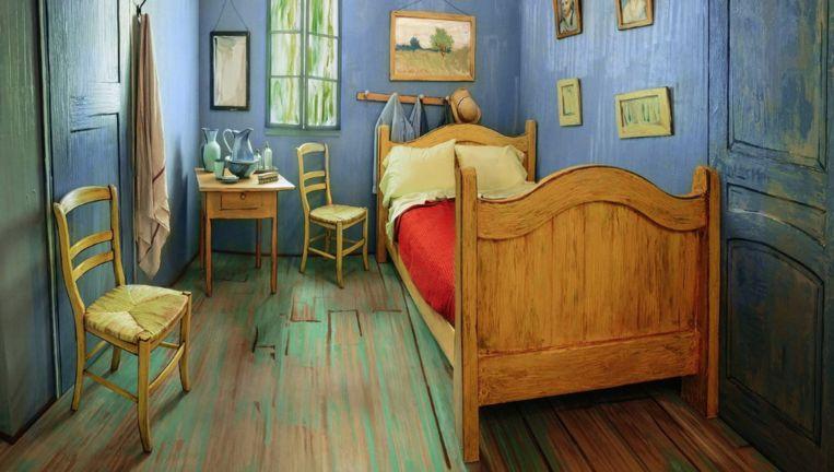 Van Goghs nagebouwde slaapkamer in Chicago. Beeld Art Institute of Chicago